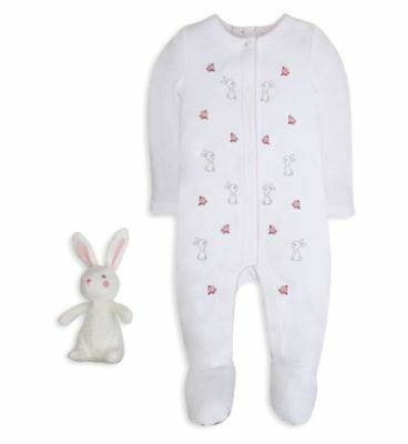 Girls White Rabbit All-In-One Sleepsuit With Rabbit Soft Toy 6-9 Months - New