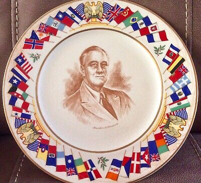 "11"" Franklin Roosevelt Allied Nations Commemorative Series Plate Salem Wwii"