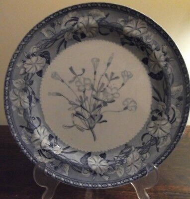 Antique transfer printed botanical blue and white Wedgwood plate circa 1850