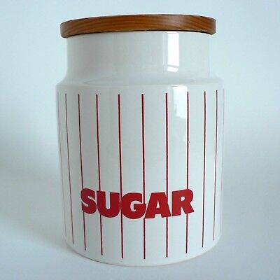 Hornsea Stripes Red Sugar Storage Jar New Seal Wooden Lid Medium Perfect 1980'S