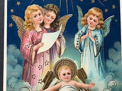 Antique early 1900s Christmas Postcard 3 Angels w Baby Jesus Christ Germany