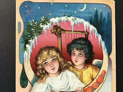 Antique early 1900s Christmas Postcard  Angels Heavenly window Germany