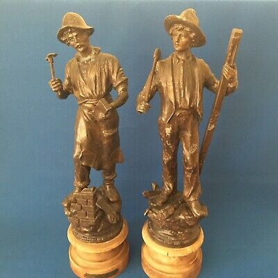 Antique French Pair Bronzed Spelter Figures - characterising industry