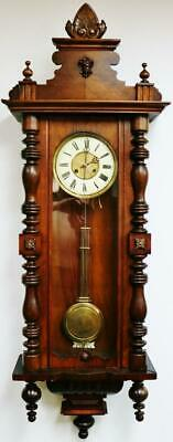 Antique German 8 Day Striking Spring Diven Carved Mahogany Vienna Wall Clock