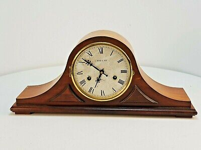Large Antique Wooden Mantel Clock Wood & Son Spares or Repair FREE UK P&P