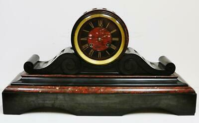 Huge Antique French 8 Day Slate & Red Marble Bell Striking Drumhead Mantel Clock