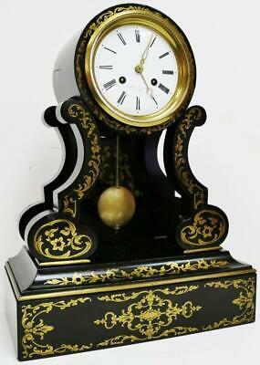 Rare Antique French 8 Day Striking Boulle Inlaid Drumhead Portico Mantel Clock