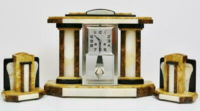 Antique French 8 Day Art Deco Marble Portico & 4 Glass Designed Mantel Clock Set