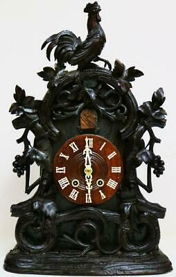Rare Quality Antique Carved Black Forest 8 Day Striking Cuckoo Bracket Clock