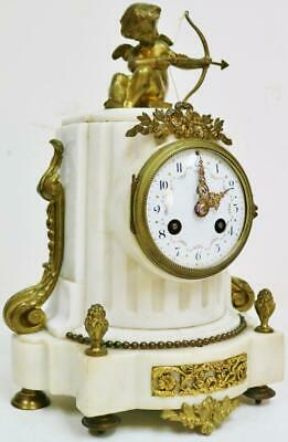 Antique French 8 Day White Marble & Bronze Cherub Figure Striking Mantel Clock