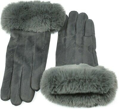 Women Faux Suede I Touch Gloves Faux Fur Cuff and Lined Warmth Winter Gray