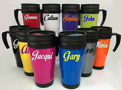 Custom Personalised Travel Mug Double Wall Insulated Screw Lid Cup 400ml Hot Cup