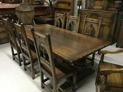 Solid Handmade Oak Extending Table & Eight Dining Chairs made by Trevor Lawrence