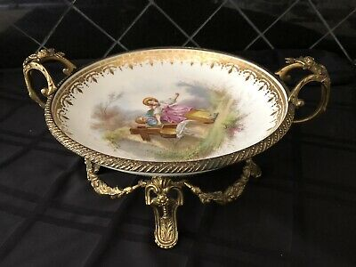 Antique Sevres French Porcelain Ormolu Centerpiece Bowl Bronze Double L Signed