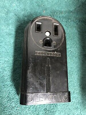 LEVITON 50A 250V Receptacle Surface Mount Bakelite Electric Outlet NOS 6-50R