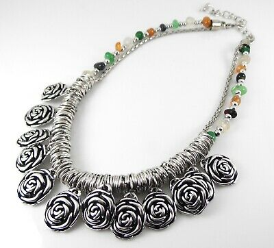 Antique Silver Flower Pendant Necklace Handmade With Semi Precious Stone Beads