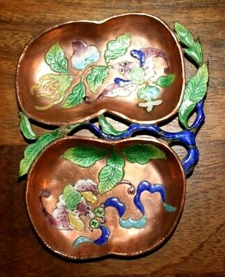 Antique Chinese Enameled Copper Opium Trinket Dish 5""