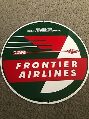 Ande Rooney Porcelain Enameled Frontier Airlines Rocky Mountain Empire Sign