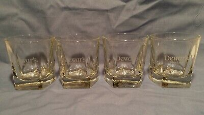 Set of 4 DEWAR'S WHITE LABEL Scotch Whisky Petagon Base Cocktail Bar Glasses
