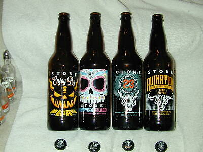(4) Stone Brewing 2019 Craft Beer  22Oz Limited Edition BottlesEmpty Caps
