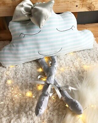 Cloud Cushion Grey Mint White With A Bow Nursery Decor Baby Gift