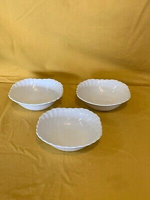 Johnson Brothers Regency White Swirl Square Cereal Bowls England - Set of 3   T