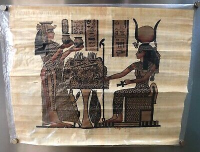 """Vintage HAND PAINTED EGYPTIAN ART ON PAPYRUS Egypt Authentic  16"""" x 13"""""""
