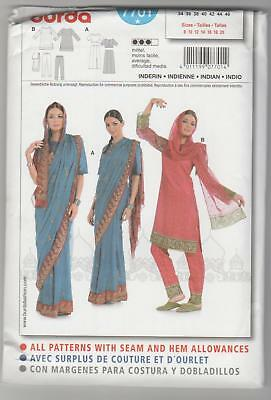 Burda Sewing Pattern 7701 Indian Sari Tunic Top  Skirt Pants Costume Sz 8-20