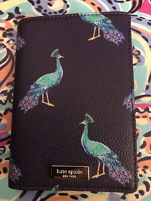KATE SPADE NY Shore Street Peacock Party Passport Holder Blue Teal New Autumn