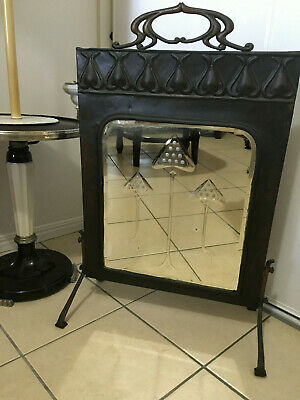 "Art Deco Bronze Framed Etched Mirrored Fireplace Screen ""stunning"""