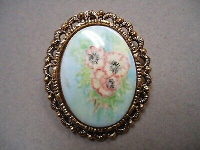 Vintage Hand Painted Porcelain Flower Cameo Fancy Frame Brooch Pin Pendant