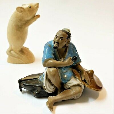 Chinese Shiwan Pottery Mudmen Figure, 9cm Seated Man with Axe & Pipe, #402