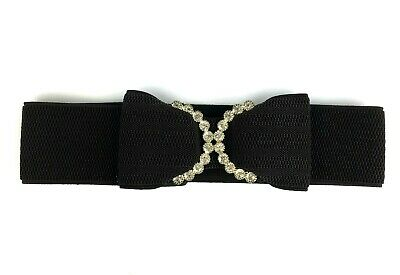 Girls Dark Brown Stretch Belt Bow and Rhinestones
