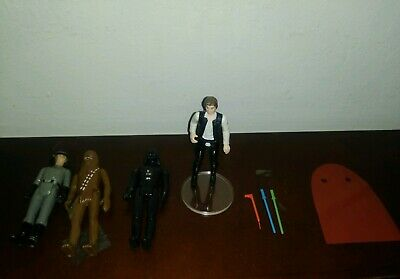 Vtg Hans Solo 1977 Star Wars Action Figure Darth Vader Chewbacca Squad Commander