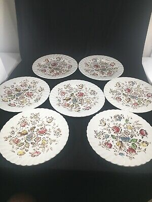 """Set of 7 Johnson Brothers STAFFORDSHIRE BOUQUET 9-3/4"""" Dinner Plates - Beautiful"""