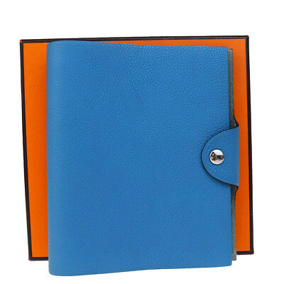 Authentic HERMES Agenda Ulysse Day Planner Note Cover Togo Leather Blue 02B1922