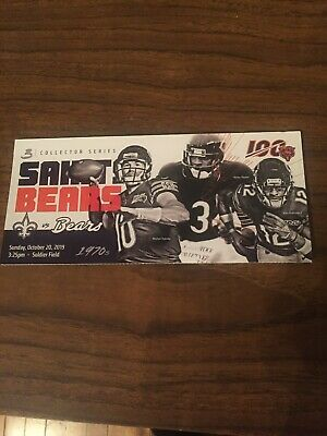 RARE New Orleans Saints vs Chicago Bears Ticket Stub 10/20/2019 - Walter Payton