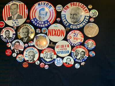 Various Presidential Campaign Buttons Nixon; Kennedy; Reagan; Johnson;McGovern