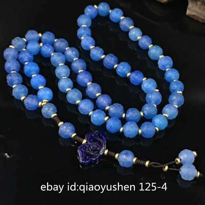 Tibetan Natural Light Blue Agate Carved Round Ruyi Buddha Bead Bracelet Necklace