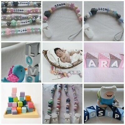 Bundle Personalised baby name blocks + Baby name Dummy Clip Silicone Chain