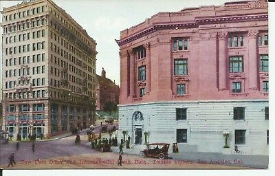 Los Angeles California Post Office Bank Temple Square 1910 Postcard