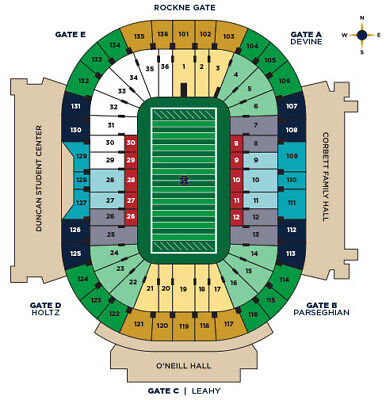 2 Notre Vs Virginia Tech Football Tickets Plus Joyce Parking Pass