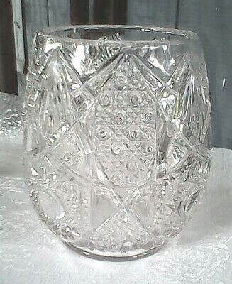 Cut Pressed Glass Vase Egg Shaped Bowl Large Heavy 7 X 6 Excellen Condition Lqqk