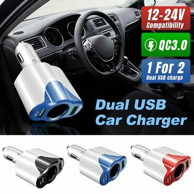 Car 2 USB QC3.0 Charger Cigarette Lighter Socket Splitter 12-24V Power Adapter