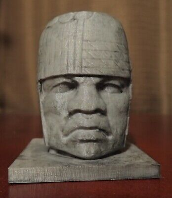 Small Olmec Head Smithsonian Scan 3D print hand painted home art antique decor
