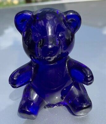 "Signed ""Oneida Crystal"" Glass Bear Figure, Colbalt Blue"