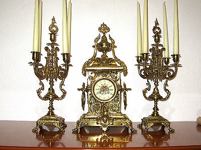 Antique Brass French Pendulum Clock,Fireplace Clock and Two Candle Holder