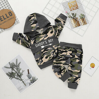 UK Camouflage Kids Baby Boy Clothes Daddy's Boy Hooded Tops Long Pants Tracksuit