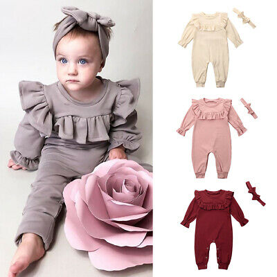 UK Autumn Winter Newborn Kids Baby Girls Clothes Romper Jumpsuit+Headband Outfit
