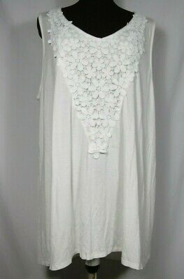 Cal Style White Rayon Stretchy Knit Sleeveless Pull Over Top Floral Lace Plus 3X